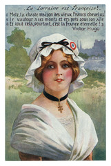 French historical postcard: Young beautiful girl in a traditional dress, in a white cap with a tricolor. Alsace-Lorraine. France. world war one 1914-1918.