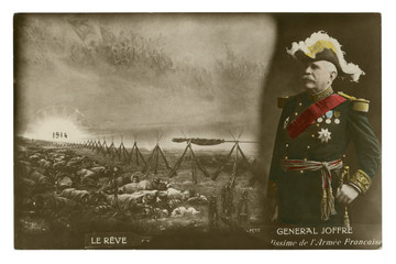 French historical photo postcard: General Joffre in full uniform  with medals. The army sleeps after the battle. Rising sun. world war one 1914-1918. Republic of france