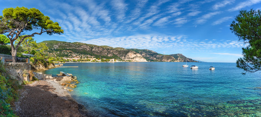 Wide panorama over Saint-Jean-Cap-Ferrat beach, on the Azur French coast of Nice in summertime Wall mural