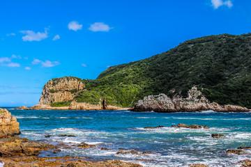 Beautiful rocky Knysna heads beach in garden route in Western Ca