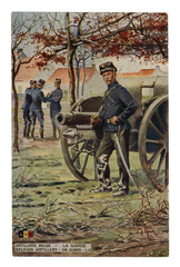 French historical postcard: Belgian artillery on guard. Artillery piece. A soldier with a sabre unsheathed in the post. world war one 1914-1918. Kingdom of Belgium