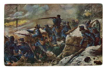 French historical postcard: The struggle for a few yards in the Argonne. Battle in the trenches in the forest. Dead German soldiers. World war one 1914-1918