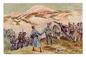 French historical postcard: battle for the mountain Loosen, 29 August 1914. The Montenegrin artillery and the French army. Montenegro. Allies. World war one 1914-1918