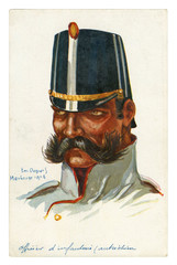 French historical postcard: portrait of an Austrian infantry officer, a man with a large curvy mustache in military uniform. world war one 1914-1918. Austria-Hungary