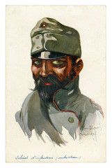 French historical postcard: portrait of an Austrian infantry soldier, a man with a large black mustache and beard in military uniform. world war one 1914-1918. Austria-Hungary