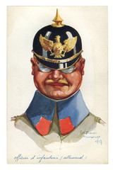 French historical postcard: caricature portrait of the German officer corps with pickelhaube with the emblem, the eagle. Germany, world war one 1914-1918.