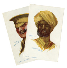 Two French historical postcards: portraits of British soldiers, infantryman and Indian cavalry colonial troops of world war I 1914-1918, in khaki military uniform, great Britain