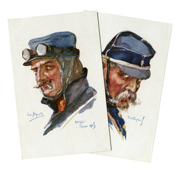 Two French historical postcards: portraits of veteran soldier and ACE pilot of world war I 1914-1918, in blue military uniform, France