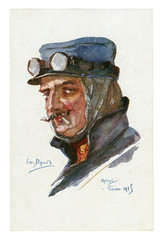 French historical postcard: Portrait of ACE pilot in flight glasses, with thin mustache, smoking a cigarette. world war one 1914-1918. France
