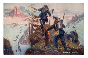 Old French postcard: Alpine chasseur. Elite kind of troops, mountain soldiers. A column of Rangers, in full uniform and ammunition is on a snow-covered trail.