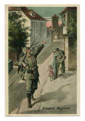 Old German postcard: A soldier in uniform, with a rifle and helmet, waving his hand to his wife, says goodbye and goes to the front to war. world war I 1914-1918, Germany