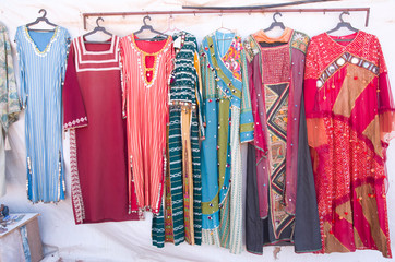 Traditional woman bedouin dresses in Jordan