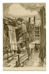 Old German postcard: Black and white pencil drawing, a soldier in the trench with a rifle, a sapper shovel, watching the enemy. world war I 1914-1918, Germany