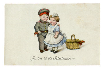"""Old German postcard: Military-humorous series children as adults """"Yes, true to the soldier's life.""""  world war I, 1914-1918, Germany"""