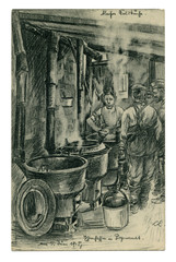 Old German postcard: Black and white pencil drawing: a soldier's kitchen, the men with steel pot stand in line for food. world war I 1914-1918, Germany