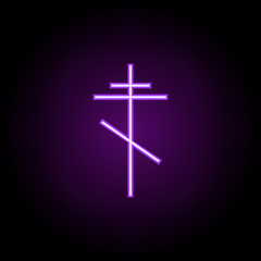 cross orthodox outline icon. Elements of religion in neon style icons. Simple icon for websites, web design, mobile app, info graphics