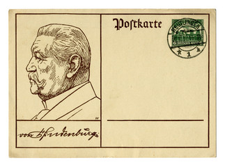 Old German postal card / postcard: painted profile of Paul von Hindenburg with his autograph, postage stamp Tannenberg, postmark October 22, 1932, Germany, Weimar Republic