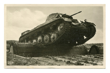 "Old German postcard-black and white photo: ""Our Wehrmacht"" series: PzKpfw II tank overcomes an obstacle at the training ground. world war II, Germany, third Reich"