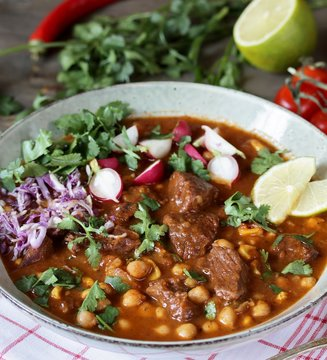 Beef Pozole with  chickpeas. festive Mexican rich soup.