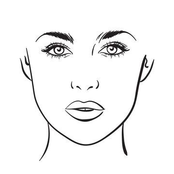 Beautiful woman portrait. Face chart Makeup Artist Blank Template. Vector
