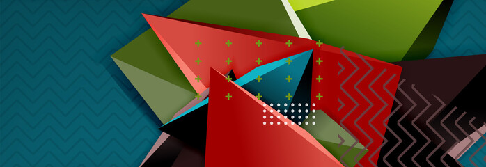 Abstract background, colorful minimal abstract triangle composition Wall mural