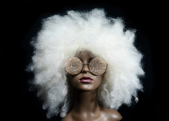 vintage mannequin with led sunglasses Wall mural