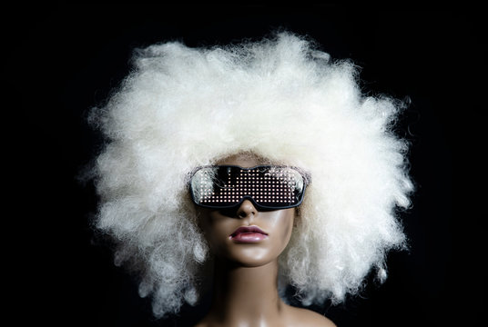 vintage mannequin with led sunglasses