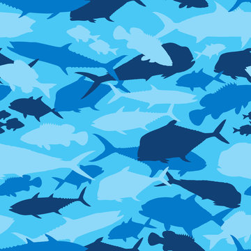 Seamless vector pattern of fishing camouflage. Blue camo of saltwater fish