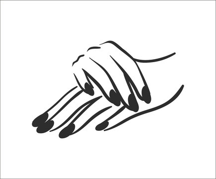 Vector illustration concept of hands with manicure icon. Black on white background