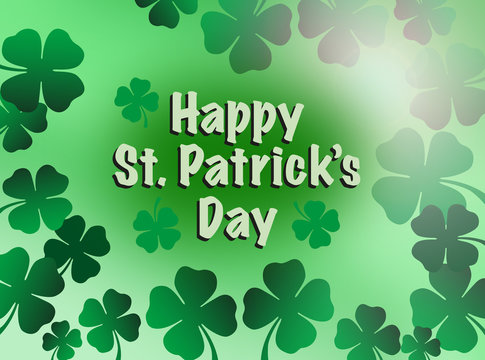 St patricks day greeting celebration with  happy St. Patrick's day text and shamrock flowers illustration