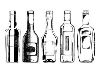Wall Mural - Wine bottle set