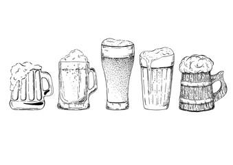 Wall Mural - Beer glasses and mugs set
