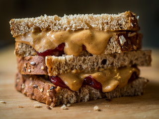 Peanut Butter and Jelly Sandwich Close Up, Halves