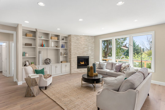 Beautiful Furnished Living Room Interior in New Home with Furniture and Fireplace