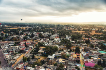 Roof top view of Mexican housing near teotihuacan city