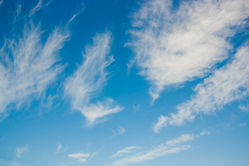Beautiful blue sky with white clouds.