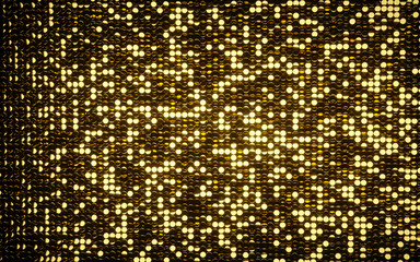 Gold and silver coins shiny mosaic background. Black background with gold lights background. Silver and gold. 3D. Premium quality video.