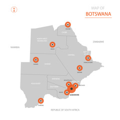 Botswana map with administrative divisions.