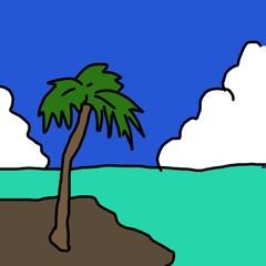 南国の海 ヤシの木のイラスト