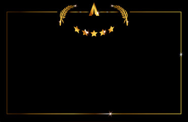black background with gold frame the abstract golden stars. Academy award icon in flat style isolated or black background