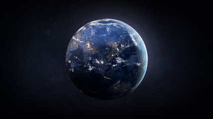 Nightly Earth globe in the outer space. City lights on planet. Civilization. Elements of this image furnished by NASA Wall mural