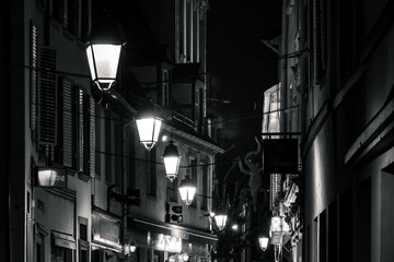 Editorial: 20th February 2019: Strasbourg, France. Night street view