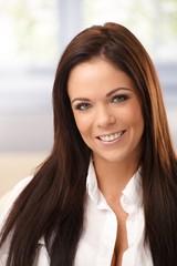 Closeup portrait of attractive woman