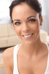 Closeup portrait of happy woman