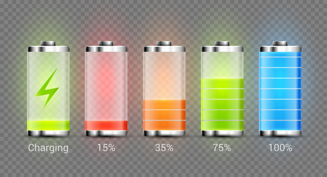 Battery charge full power energy level. Recharge battery indicator. Low power mibile fuel