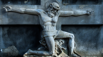 Death does not exist concept. Antique statue. Death and resurrection of Jesus of Nazareth - Jesus Christ as a symbol of human soul eternal life.