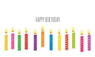Birthday greeting card template. Colorful candles set isolated on white. Vector