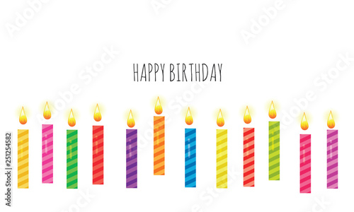 Birthday Greeting Card Template Colorful Candles Set Isolated On White Vector
