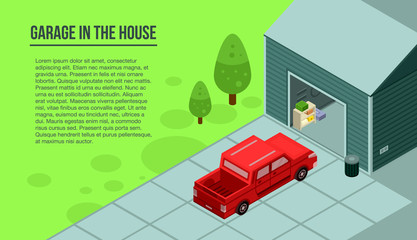 Garage in the house banner. Isometric illustration of garage in the house vector banner for web design