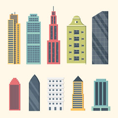 Buildings and downtown skyscrapers. Big city buildings vector illustration. Office apartment and house residential exterior.